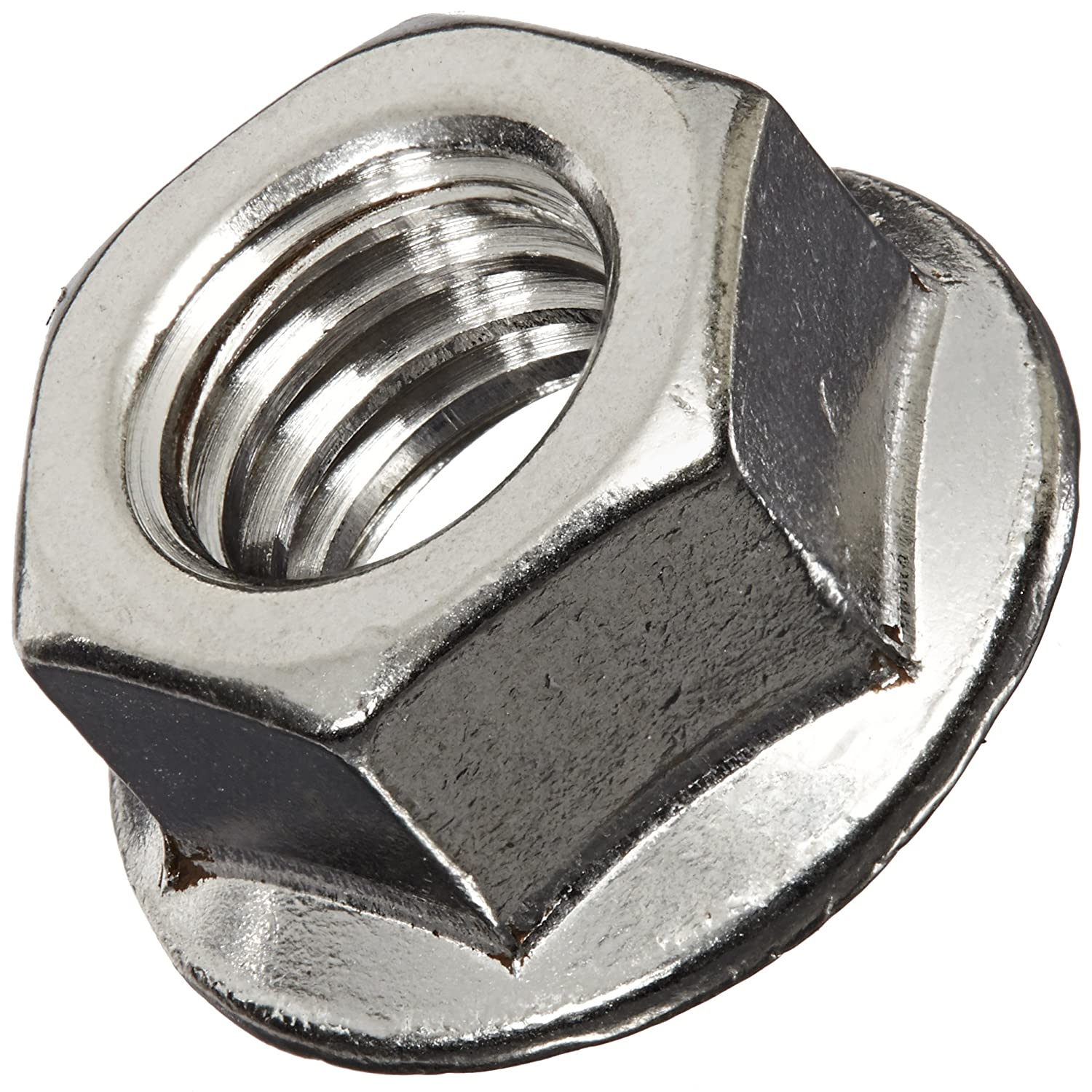 Self-Locking Serrated Flange 29//64 Overall Height Pack of 10 3//4 Width Across Flats Plain Finish 18-8 Stainless Steel Hex Flange Nut 1//2-13 Threads ASME B18.2.2
