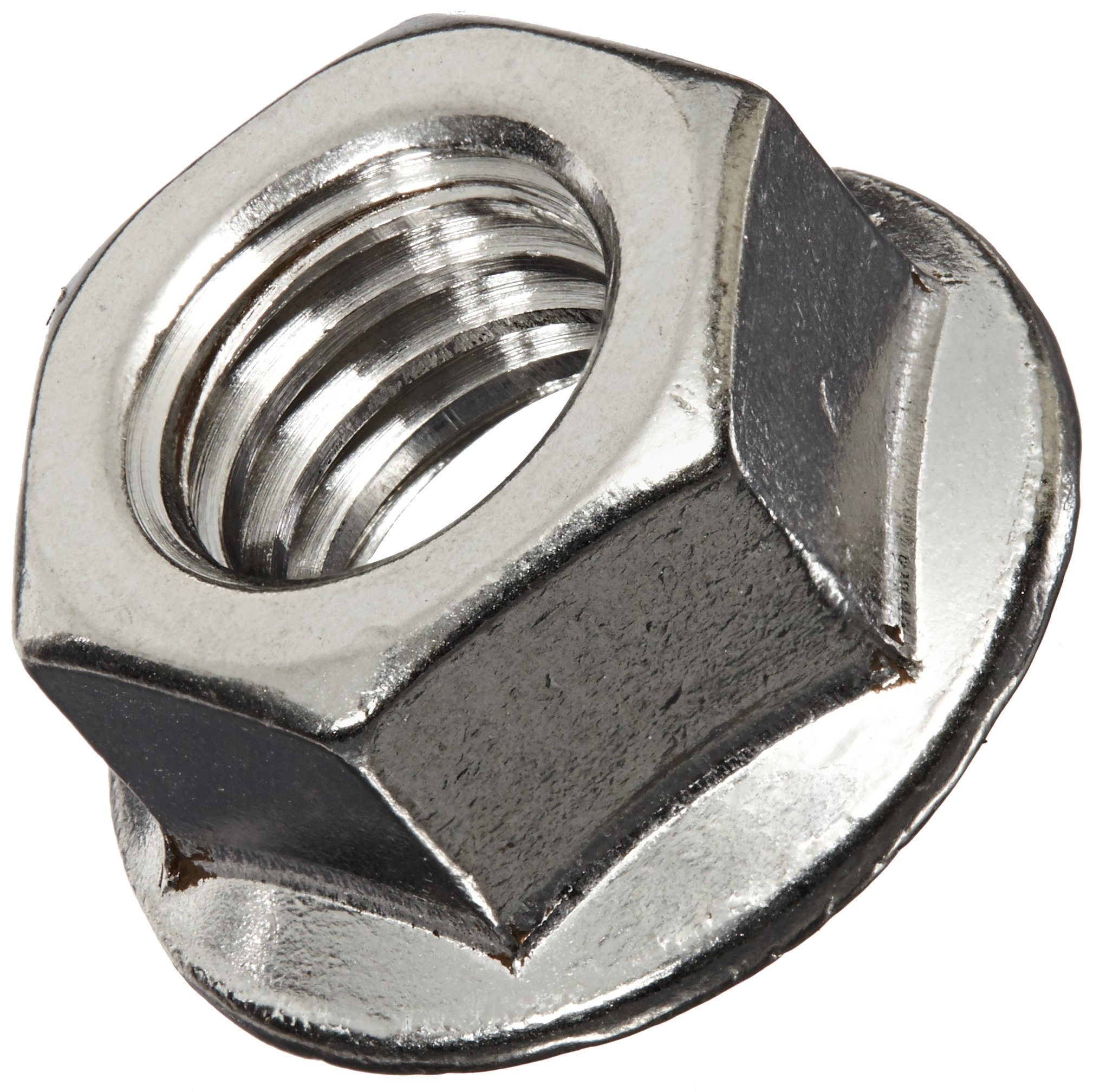 18-8 Stainless Steel Hex Flange Nut, Plain Finish, Self-Locking Serrated Flange, ASME B18.2.2, 3/8''-16 Threads (Pack of 25) by Small Parts