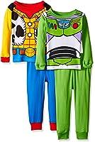 Disney Boys' Toy Story Woody and Buzz Uniform 4-Piece Cotton Pajama Set