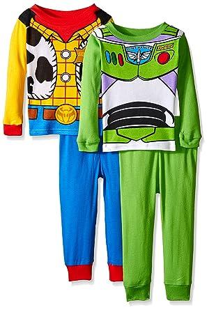 disney toddler boys toy story woody buzz uniform 4 piece cotton pajama set - Toy Story Toddler Sheets