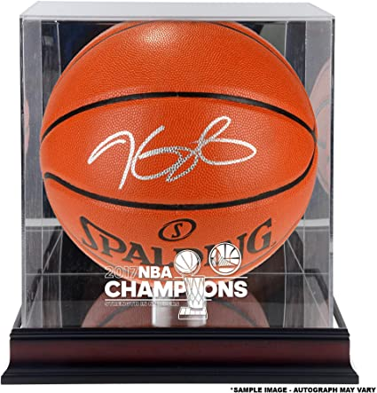 f9896366d Kevin Durant Warriors Autographed 2017 NBA Finals Champions Basketball with  a NBA Finals Champs Mahogany Basketball