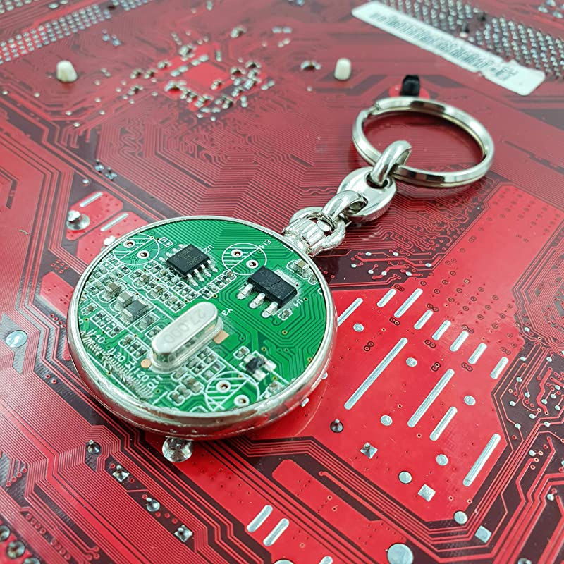 Recycled Circuit Board Techwear Engineer Science Teacher Gift Eco Friendly Recycled Upcycled Keyring Keychain PCB Tech Geek Gift For Him