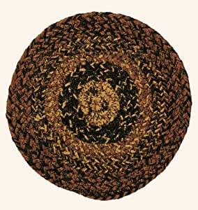 """IHF Home Decor Chestnut Lane Braided Rug 20"""" x 30"""" to 8'x10' Oval Accent Floor Carpet Natural Jute Material Doormat   Brown, Cream, Tan Woven Collection (Trivets) Set of 4"""