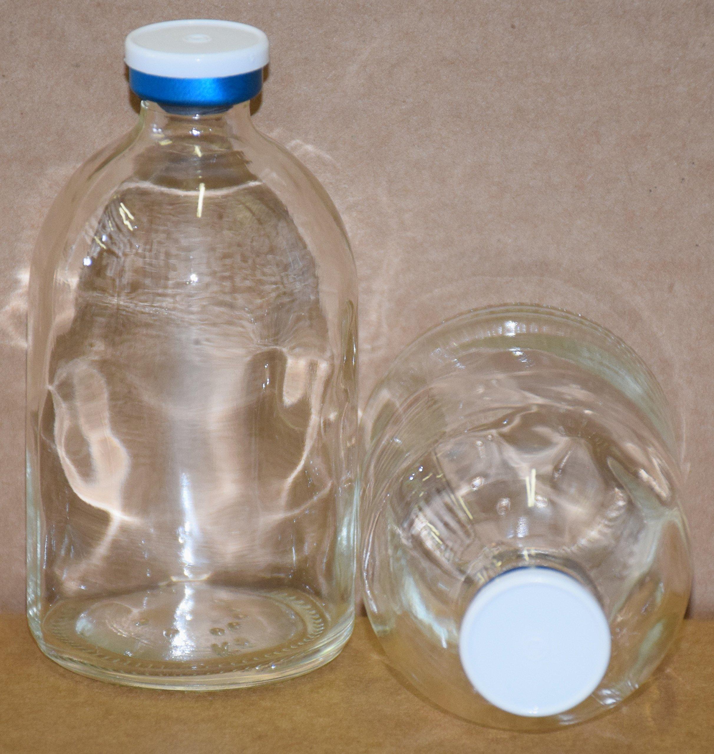 100 mL Clear Sterile Vial With White & Blue Plain Flip Cap Seal (50)