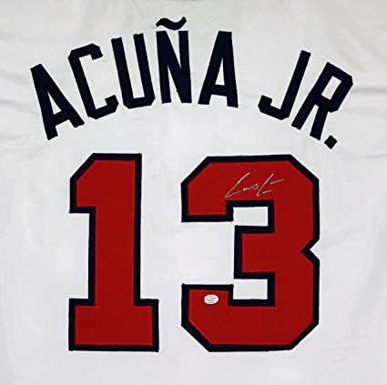 bef4bb6f3 Ronald Acuna Jr. Atlanta Braves Signed Autographed White #13 Custom Jersey  PAAS COA