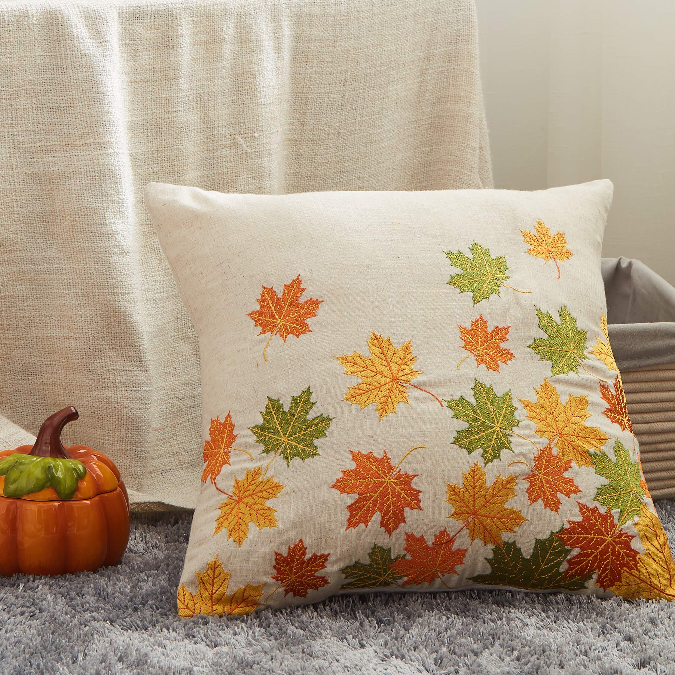 """Cassiel Home Thanksgiving Decorations Autumn Throw Pillow Cover Falling Leaves Thanksgiving Deco Pillow Cover Embroidery Pillowcase Cushion Cover 18x18""""/45x45cm"""