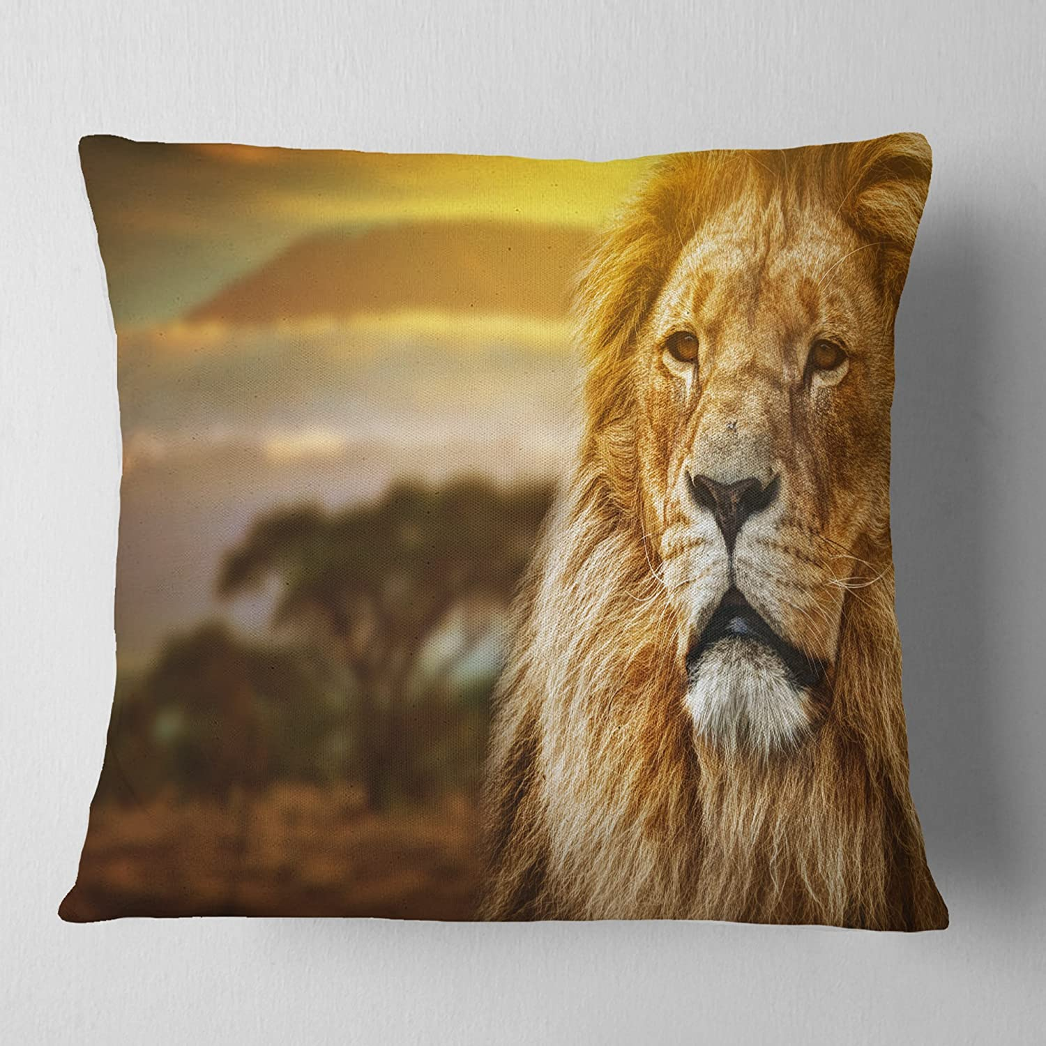 Designart CU7162-18-18 Lion and Mount Kilimanjaro' Animal Cushion Cover for Living Room, Sofa Throw Pillow 18 in. x 18 in. in, Insert Printed On Both Side