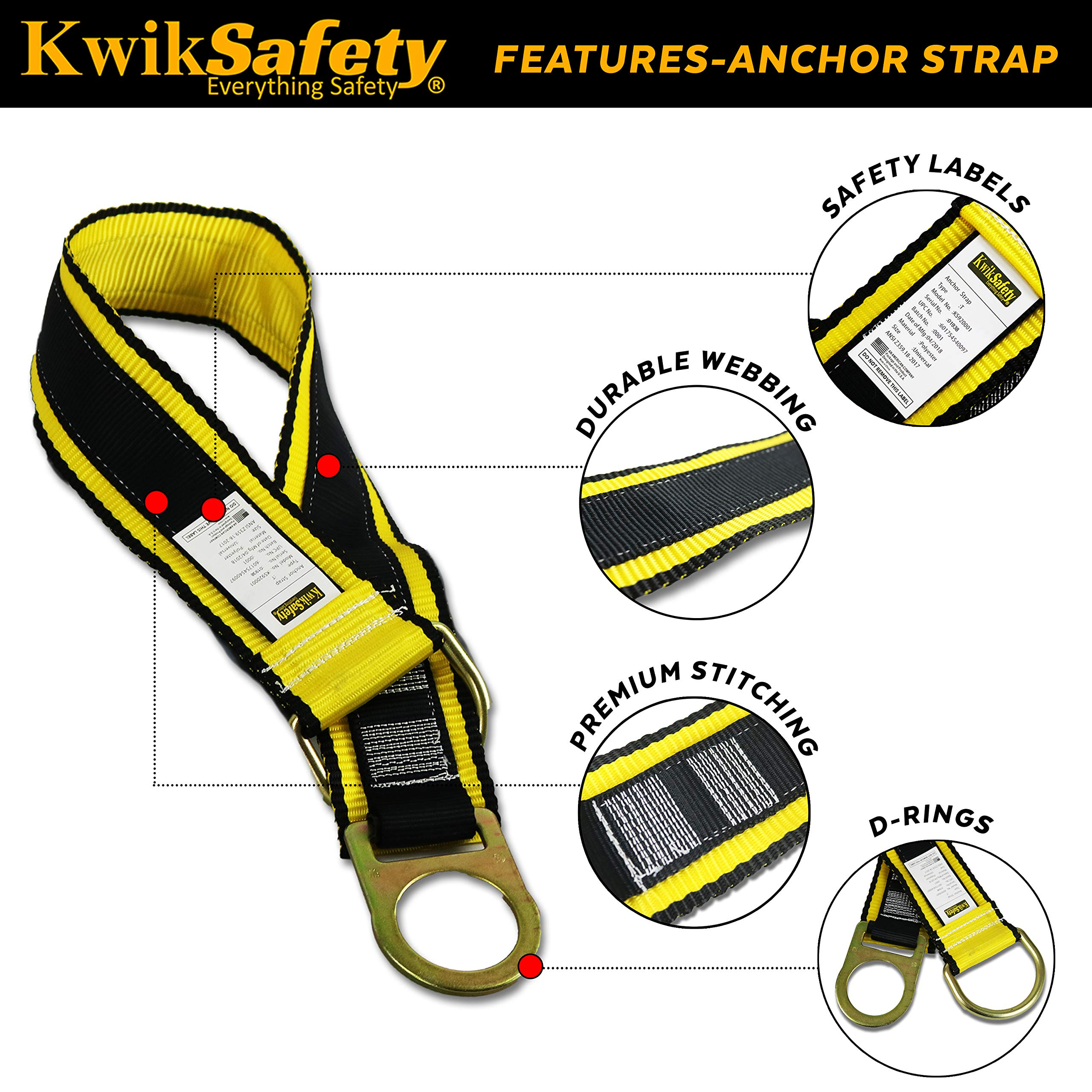 KwikSafety (Charlotte, NC) SCORPION KIT   1D Full Body Safety Harness, 6' Lanyard Attached, 3' Cross Arm Strap Anchor ANSI OSHA PPE Fall Protection Arrest Restraint Construction Roofer Bucket by KwikSafety (Image #5)
