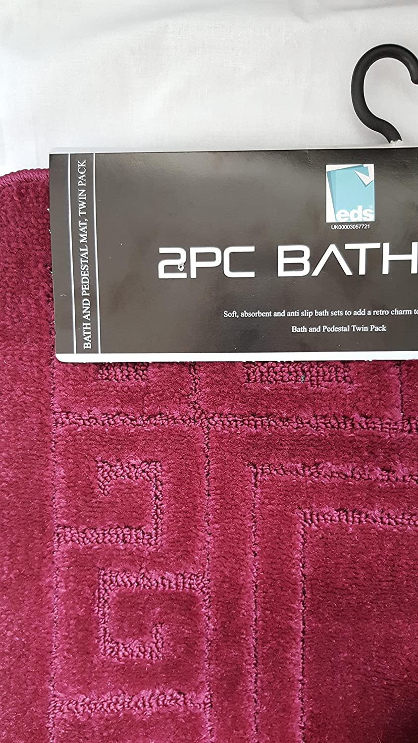 New Greek Style 2 Piece Bath Mat Set Non-Slip 13 Colours (Black) Smoh