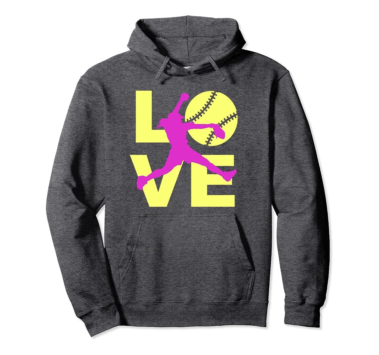 LOVE Softball Player Fast Pitch Teen Girls Women Hoodie-alottee gift