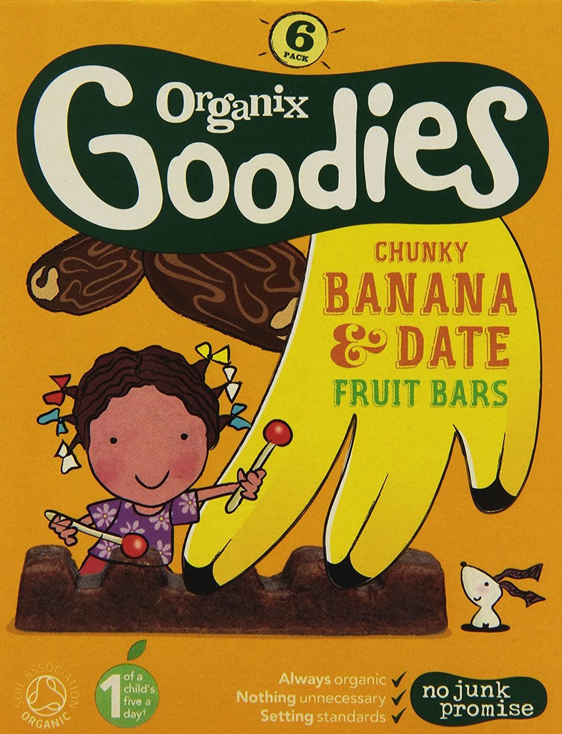 Goodies Organic Date and Banana Chunky Fruit Bars 6 x 17 g (Pack of 3, Total 18 bars) 82756