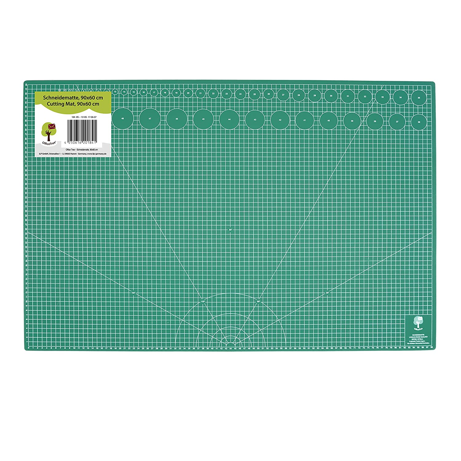 OfficeTree® Cutting Mat - 90x60 cm (A1) Green - Two-Sided Grid and Markings for Professional cuts - PVC 5-Layer Recyclable - self-Healing Surface - Premium Quality iLP GmbH