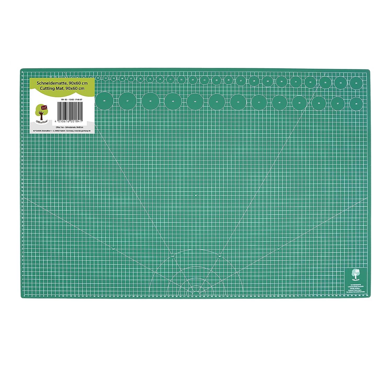 OfficeTree® Cutting Mat tappetino per taglierina - 90x60 cm (A1) verde - Reticolo e marcature su entrambi i lati, per tagli di livello professionale - PVC a 5 strati riciclabile - Non rimangono segni sulla superficie - Qualità premium iLP GmbH
