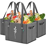Green Bulldog Reusable Grocery Bags - Heavy Duty, Foldable, Washable Canvas Tote Shopping Bags - Box Bag w/ Straps And Handle
