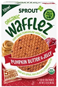 Sprout Organic Baby Food, Stage 4 Toddler Snacks, Pumpkin Butter & Jelly Wafflez, Single Serve Waffles (50 Count)