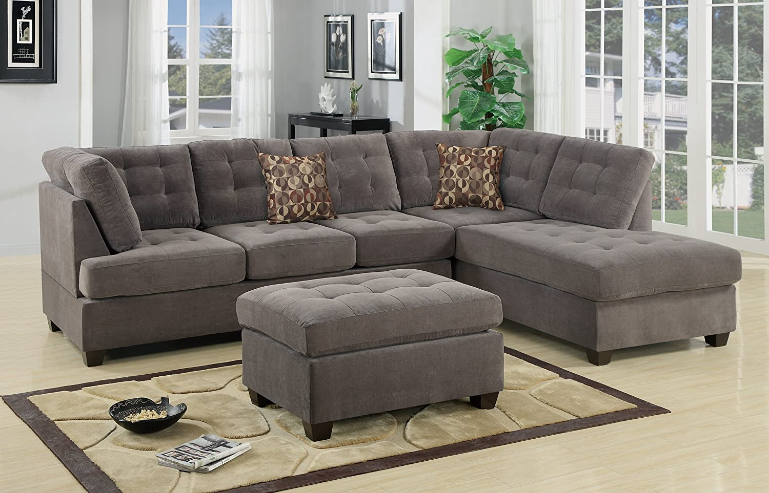 Amazon.com: Odessa Reversible Sectional Sofa Set With Ottoman Upholstered  In Charcoal Waffle Suede: Kitchen U0026 Dining