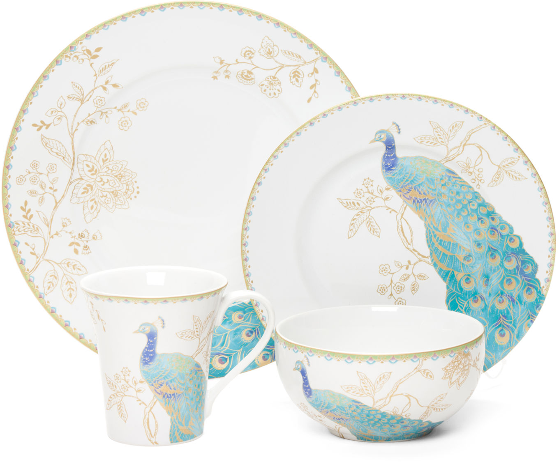 16pc Peacock Garden Dinnerware Set