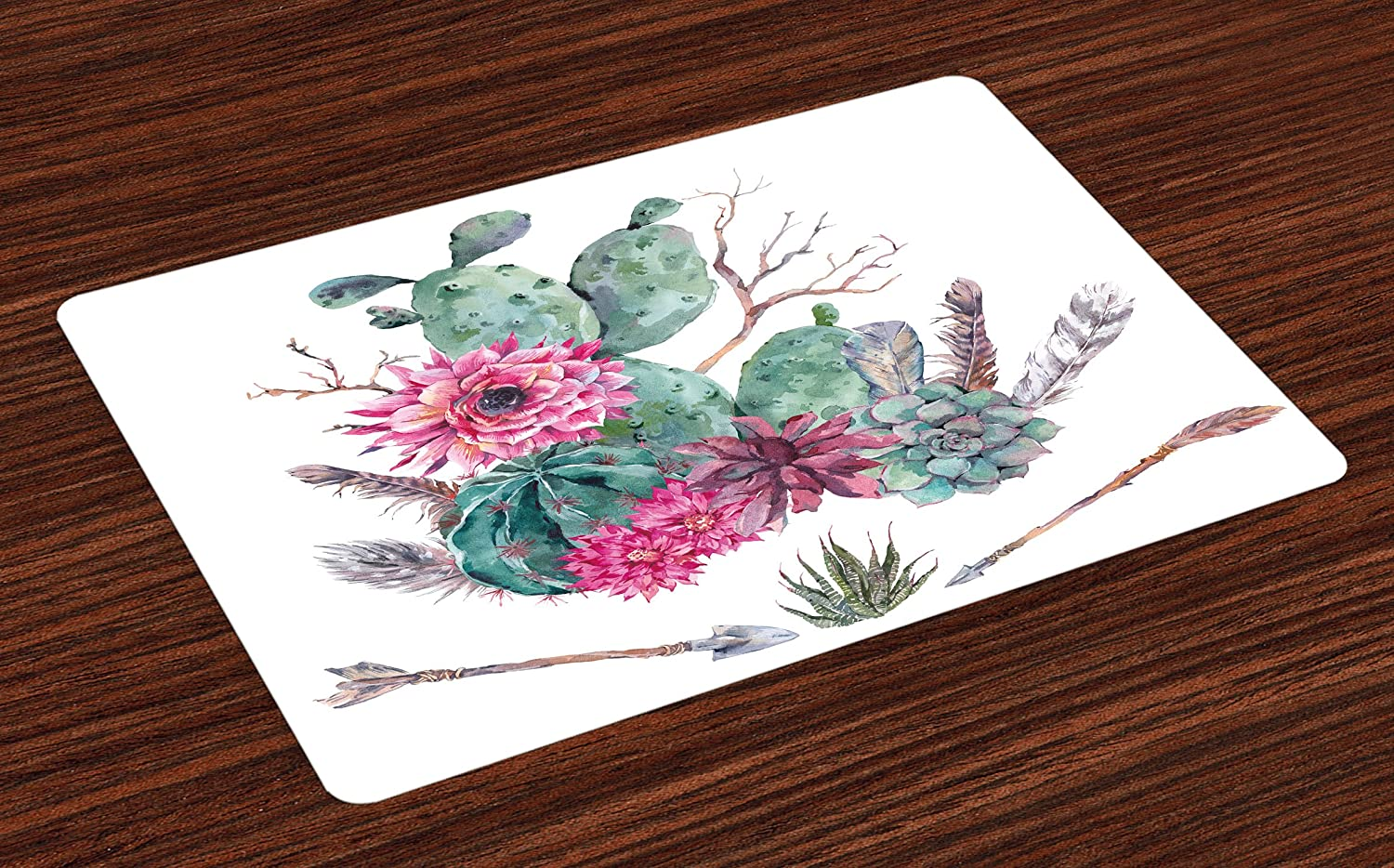 Ambesonne Cactus Place Mats Set of 4, Exotic Natural Vintage Style Watercolor Bouquet Bohemian Arizona Vegetation, Washable Fabric Placemats for Dining Room Kitchen Table Decor, Green Pink