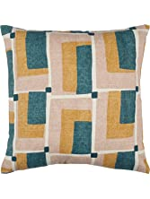 Rivet Mid-Century Geo Print Cotton Pillow, Soft and Stylish 17
