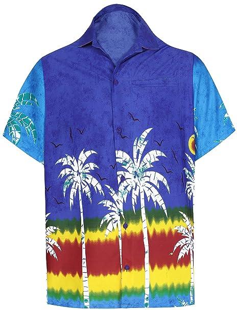 619e3a915 LA LEELA botón de la Camisa Hawaiana de los Hombres Abajo Aloha Bolsillo  Delantero  Amazon.es  Ropa y accesorios