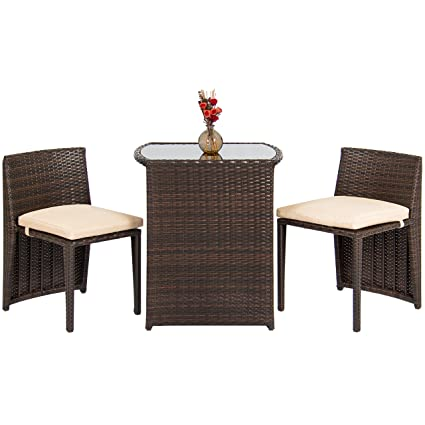Attractive Best Choice Products 3 Piece Wicker Bistro Set W/Glass Top Table, 2