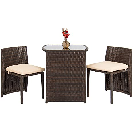 best choice products outdoor patio furniture wicker 3pc bistro set w glass top table - Garden Furniture Table And Chairs