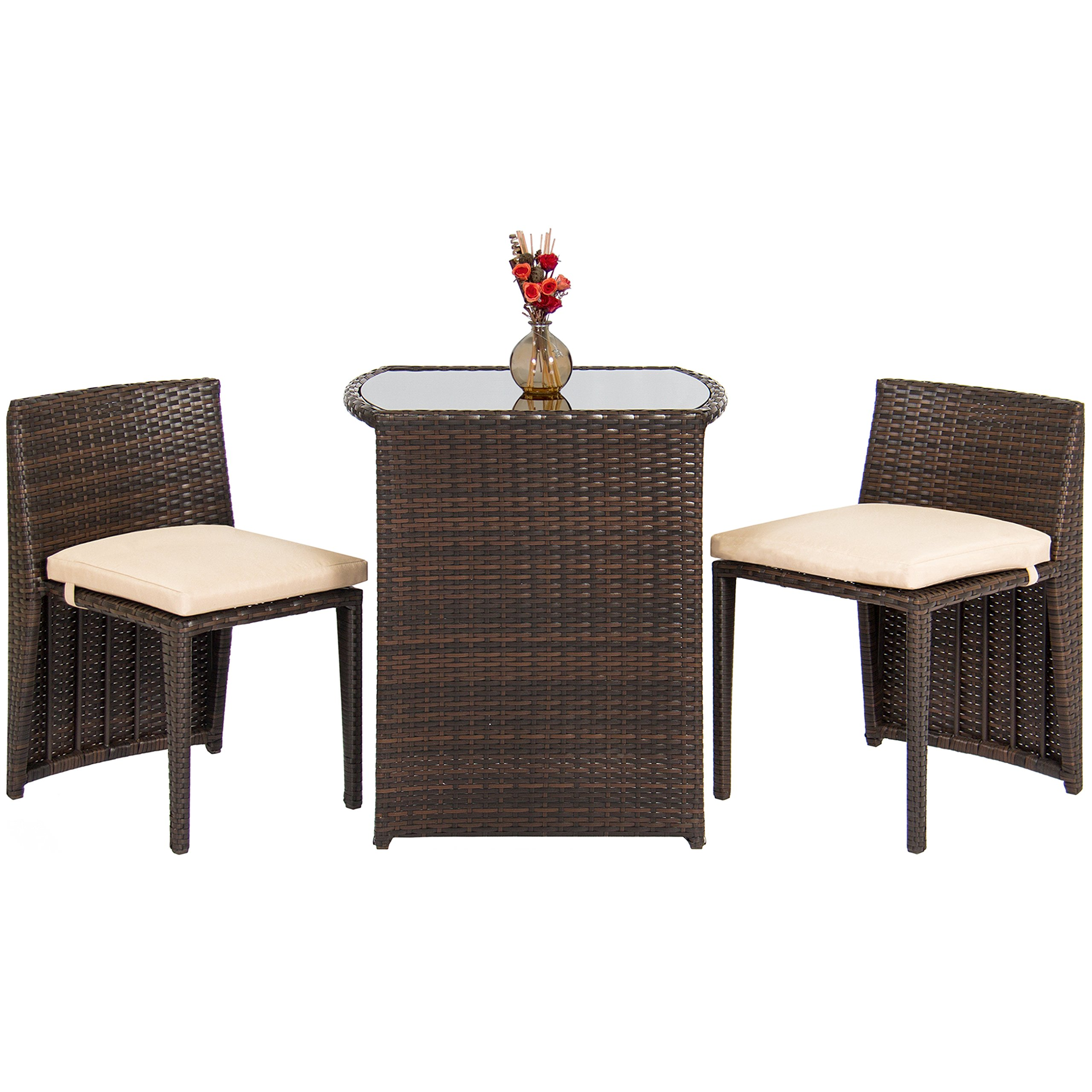 Best Choice Products Outdoor Patio Furniture Wicker 3pc Bistro Set W/ Glass Top Table, 2 Chairs- Brown by Best Choice Products