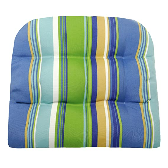 Large Outdoor Patio Chair Cushion NO TIES- Cabana Stripe- Indoor/Outdoor, Mildew Resistant, Fade Resistant - Reversible, Tufted, U Shaped Chair Pad, ...
