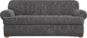 SureFit Stretch Jacquard Damask 2-Piece - Sofa Slipcover - Gray