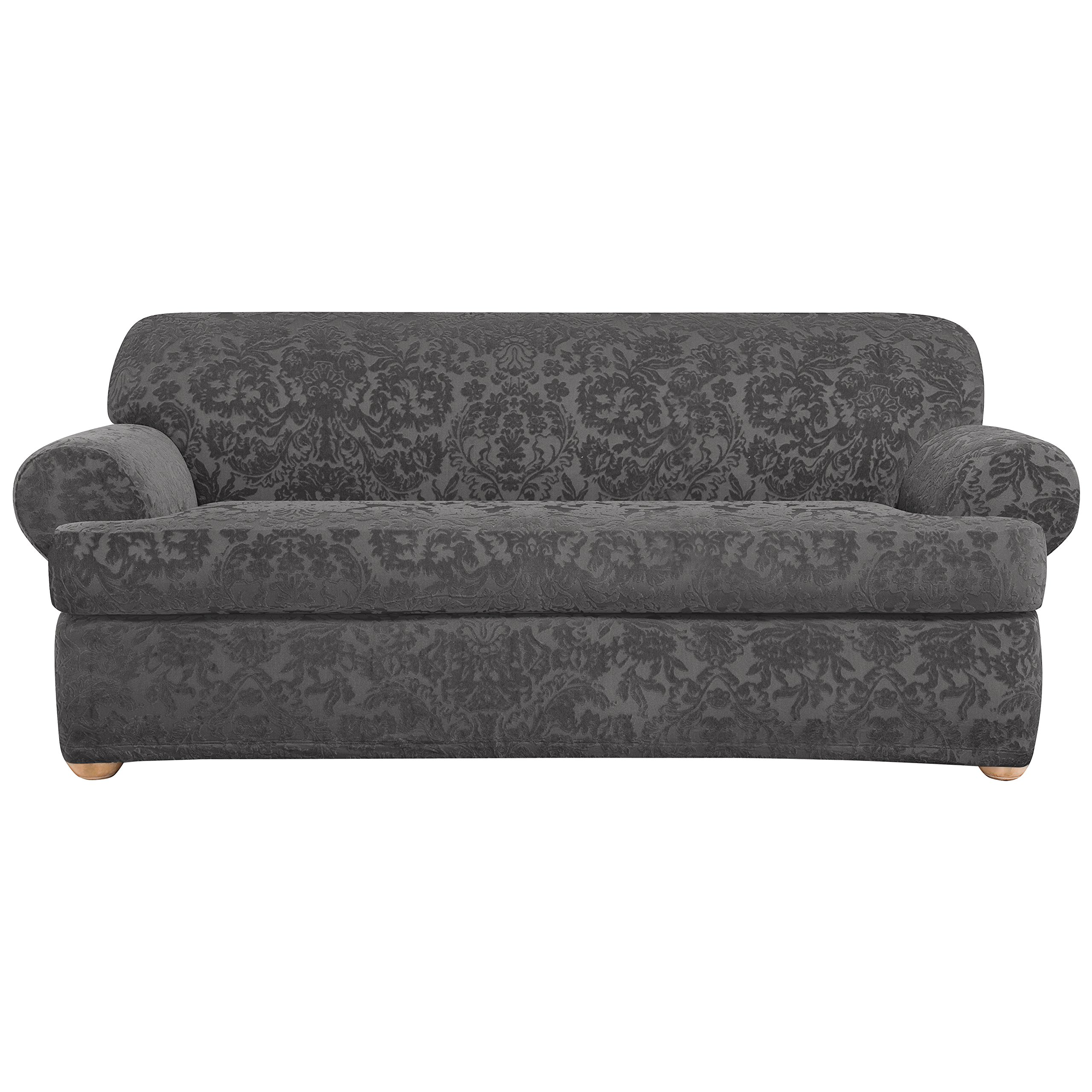 Sure Fit Stretch  Jacquard Damask 2-Piece - Sofa Slipcover  - Gray (SF41460) by Surefit
