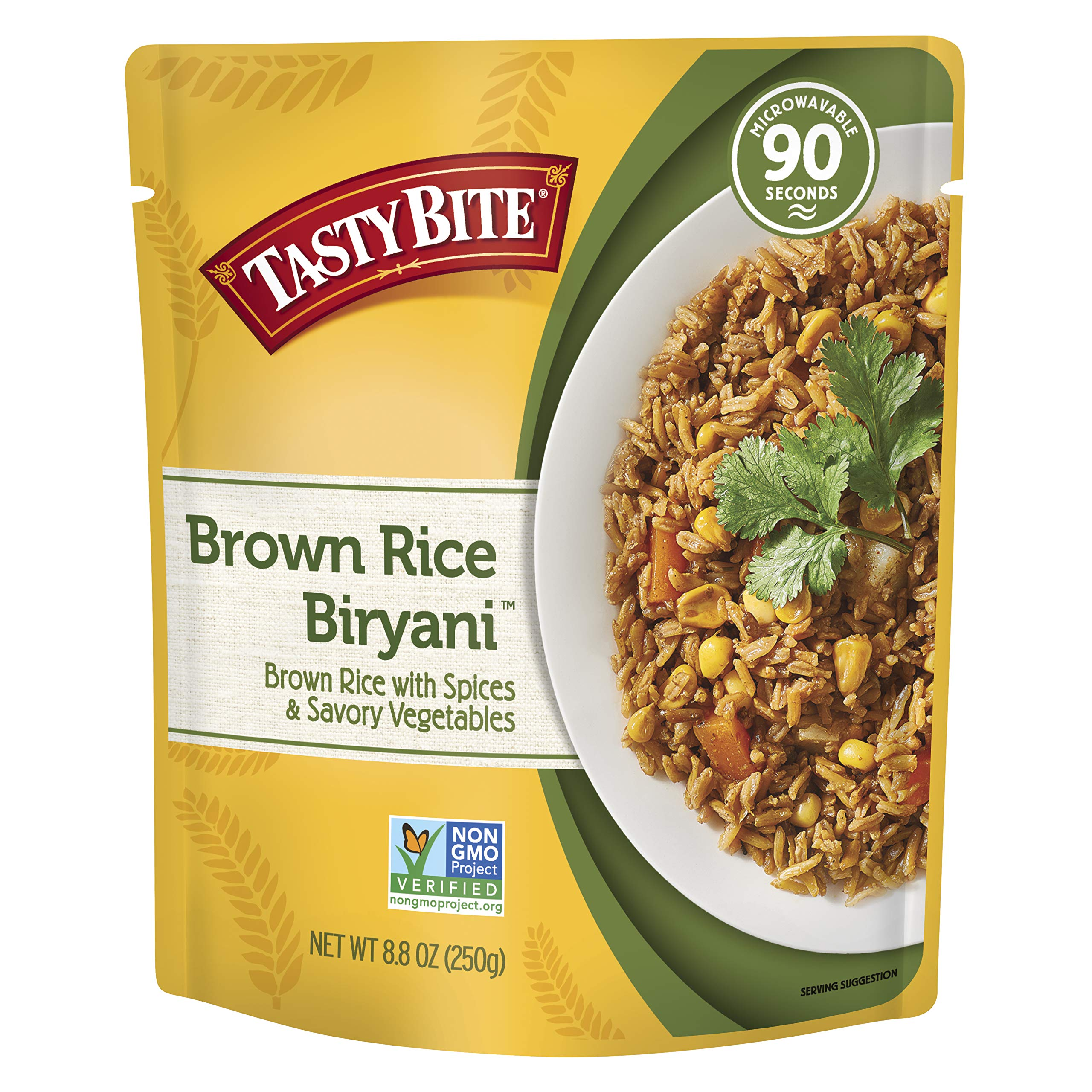 Tasty Bite Brown Rice Biryani 8.8 Ounce (Pack of 6), Whole Grain Brown Rice with Spices Potatoes & Savory Vegetables, Gluten Free, Vegetarian, Ready to Eat, Microwaveable by Tasty Bite