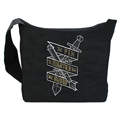 85%OFF Dancing Participle The Pen is Mightier than the Sword Embroidered Sling Bag