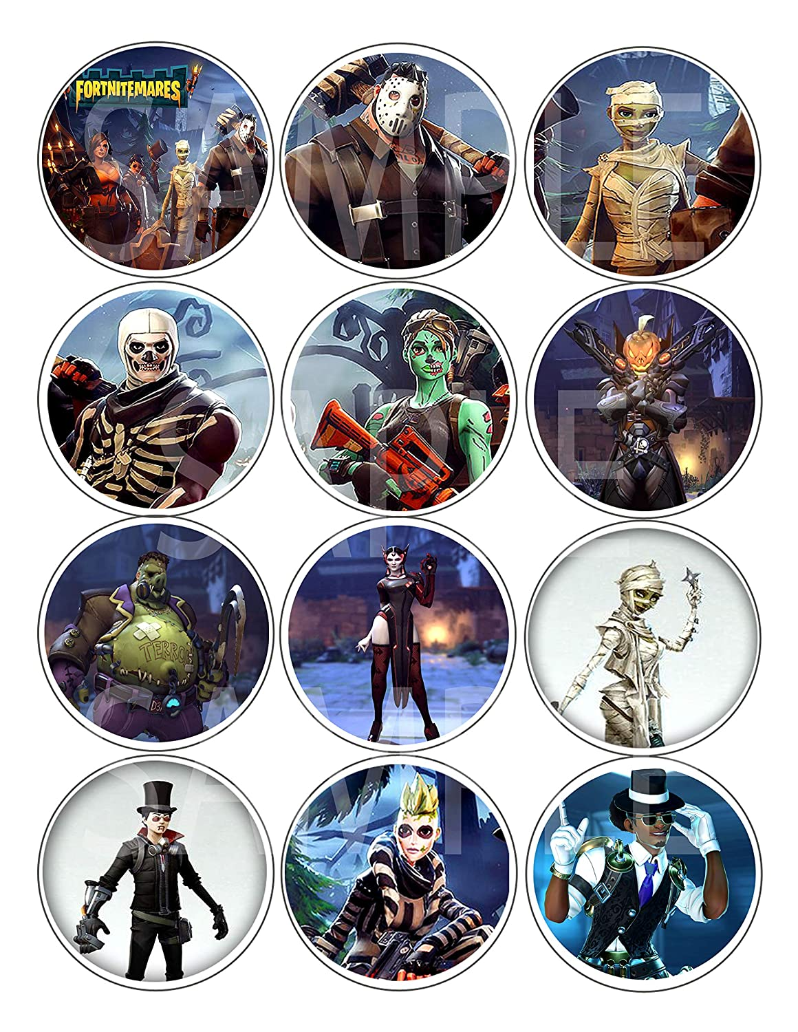 """Large 2.5/"""" Round Circle DIY Stickers to Place onto Party Favor Bags Fortnitemares Stickers Cards Boxes or Containers -12 pcs Fort Nightmares Halloween Party Over Here"""