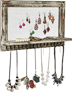MyGift Distressed Wood Wall Mounted Jewelry Earring Bracelet Organizer Display Shelf with 16 Necklace Hooks