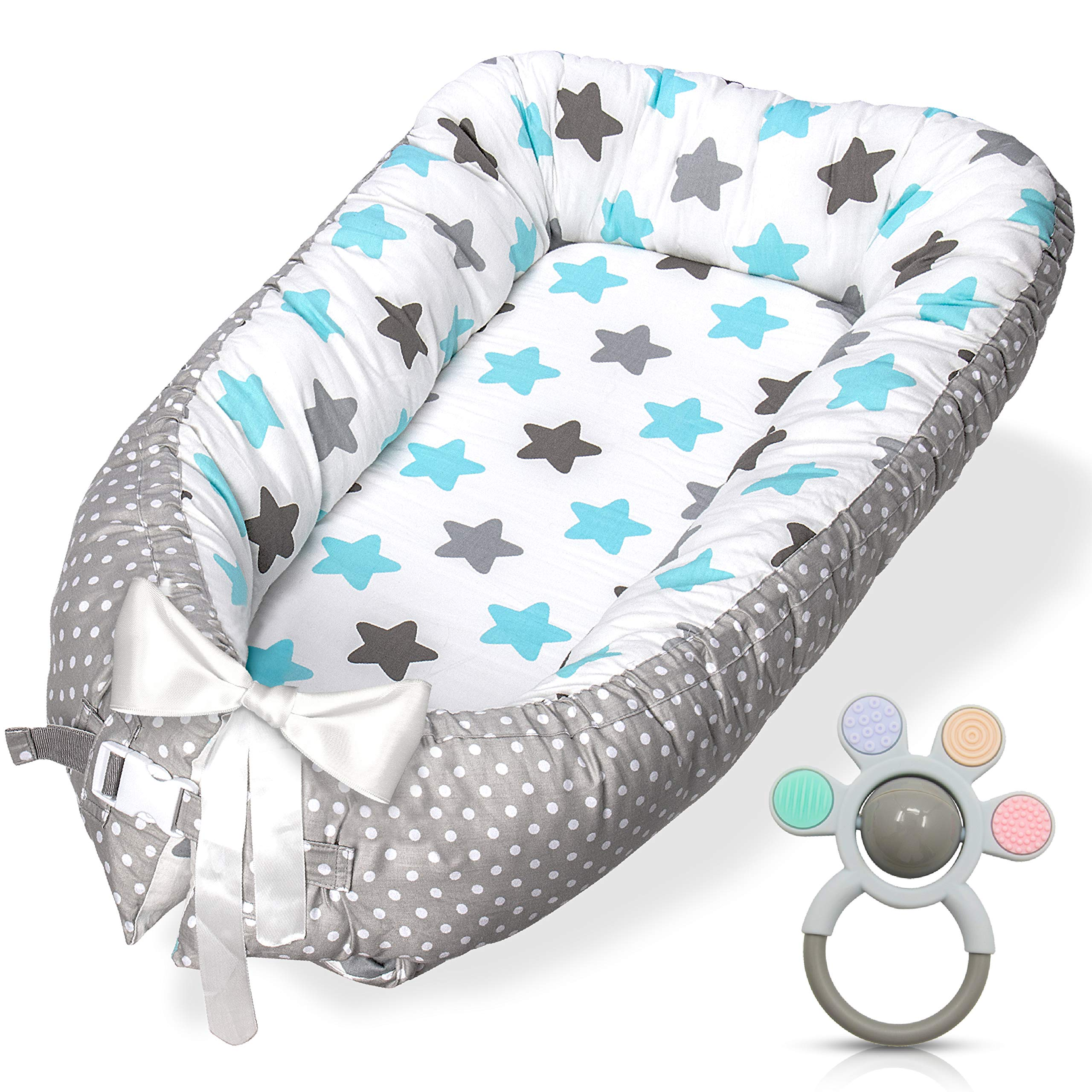 Baby Lounger Perfect for Co-Sleeping and Traveling 0-12 Months Portable 100/% Organic Soft Cotton Breathable Crib Whale Baby Nest and Baby Bassinet