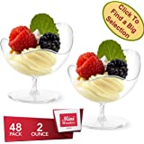 Mini Wonders Heavy Duty Plastic Clear Single Serve Scallop Stem Cup 2 oz Cocktail Dessert Cups 48 Count Toast Shot Shooter Glasses Disposable Reusable Party Bowls - plastic clear candy bowls