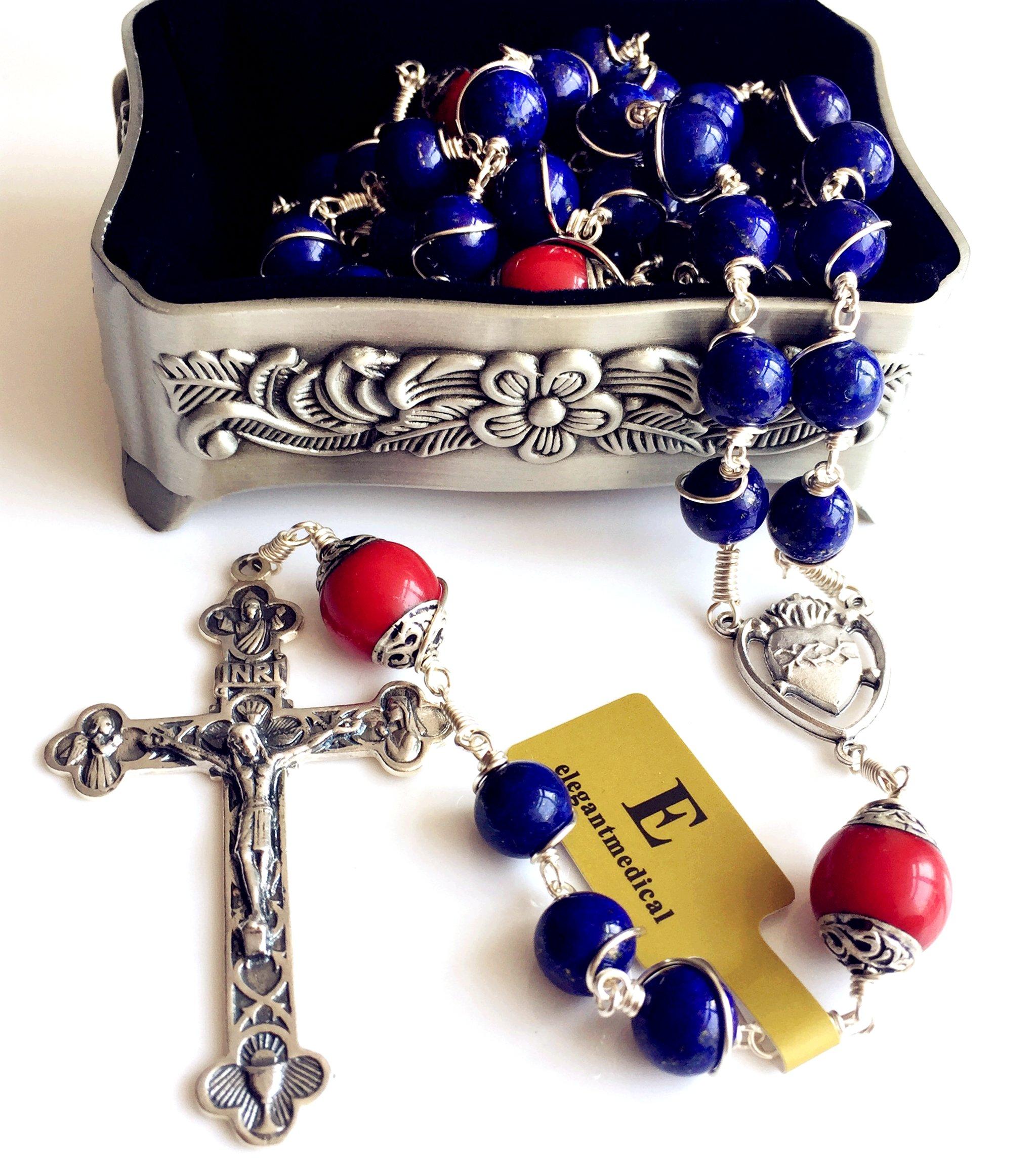 Handmade Sterling 925 Silver Lapis Lazuli Beads Rosary Cross Crucifix Catholic Necklace Gifts by elegantmedical (Image #1)