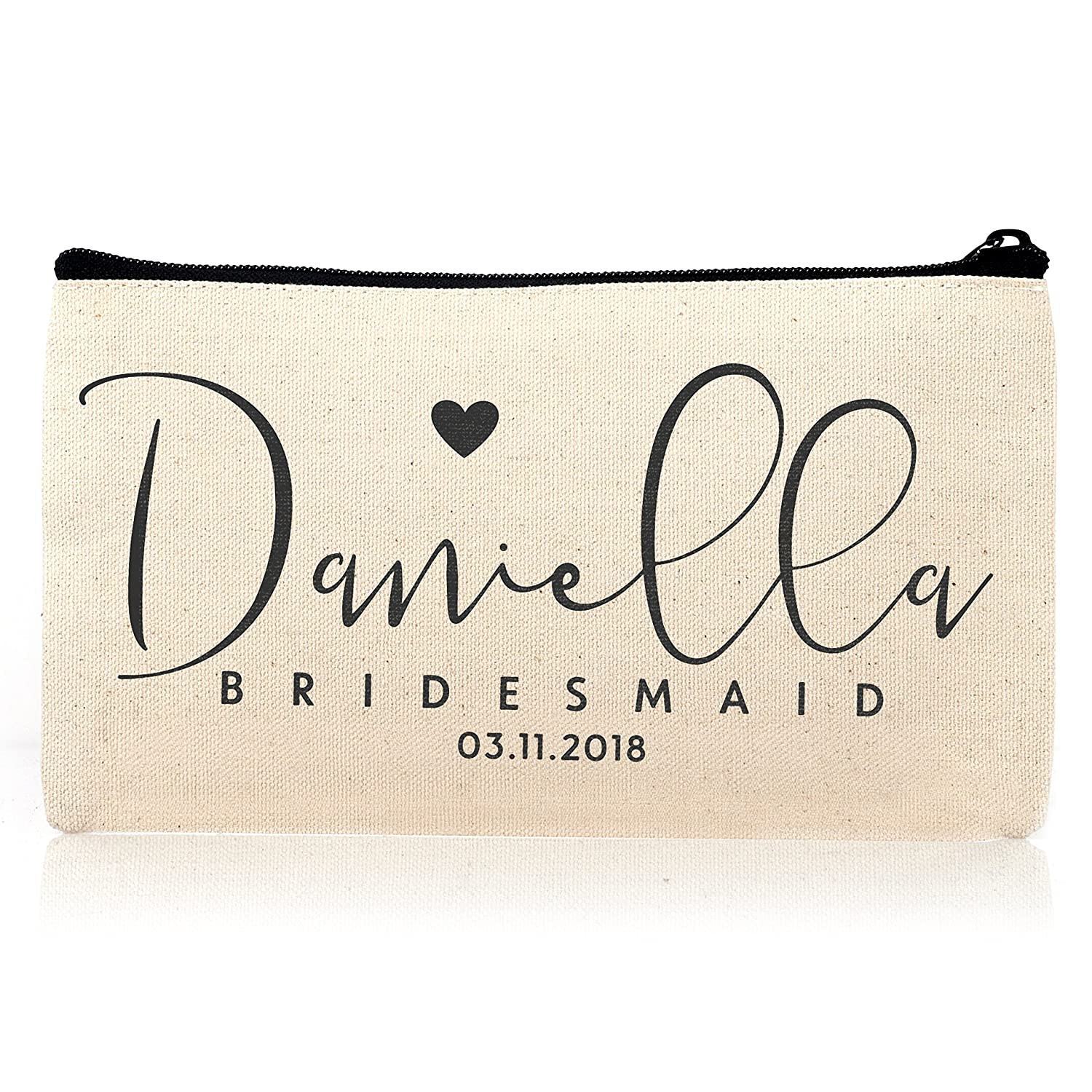 Personalized Cosmetic Bag Travel Makeup Pouch Wedding Bridal Party DSG 10 set of 6