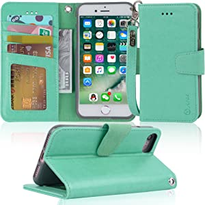 Arae Case for iPhone 7 / iPhone 8 / iPhone SE 2020, Premium PU Leather Wallet Case with Kickstand and Flip Cover for iPhone 7 / iPhone 8 / iPhone SE 2nd Generation 4.7 inch - Green
