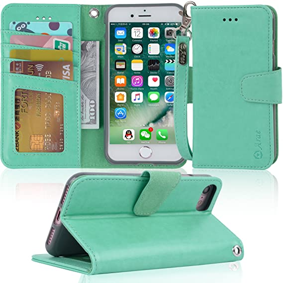 separation shoes a9140 0bdff Arae Case for iPhone 7 / iPhone 8, Premium PU Leather Wallet Case with  Kickstand and Flip Cover for iPhone 7 (2016) / iPhone 8 (2017) 4.7