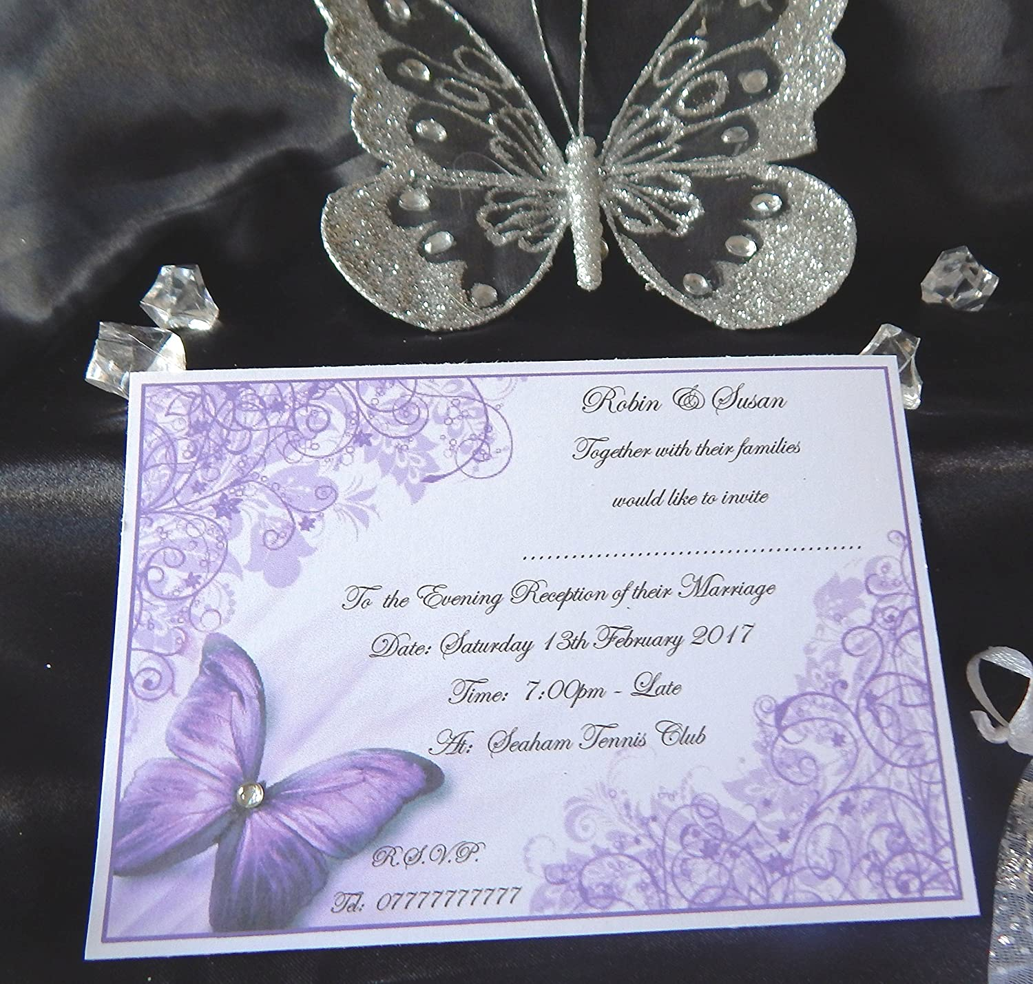 New 25, 50, 75, or 100 x Personalised Butterfly Wedding Invitations /& Evening Invitations Design K ...