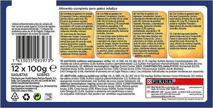 Purina Felix Sensations Gelatinas comida para Gatos Selección Surtido de Carnes, 12 x 100 g