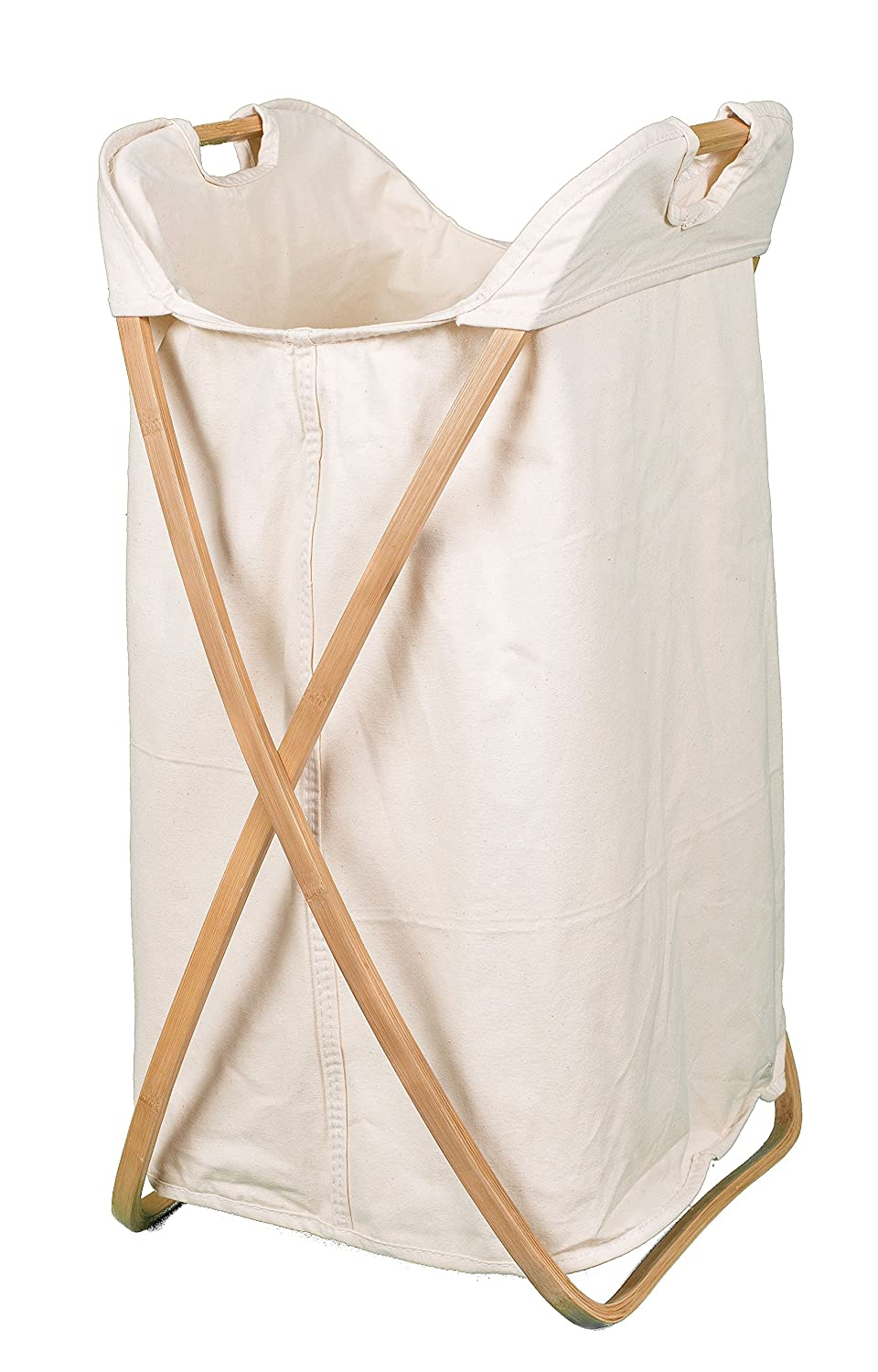 BirdRock Home Folding Butterfly Bamboo Hamper | Made of Natural Bamboo | Includes Machine Washable Cotton Canvas Liner 6557