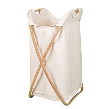 BIRDROCK HOME Folding Butterfly Bamboo Hamper - Made of Natural Bamboo - Includes Machine Washable Cotton Canvas Liner