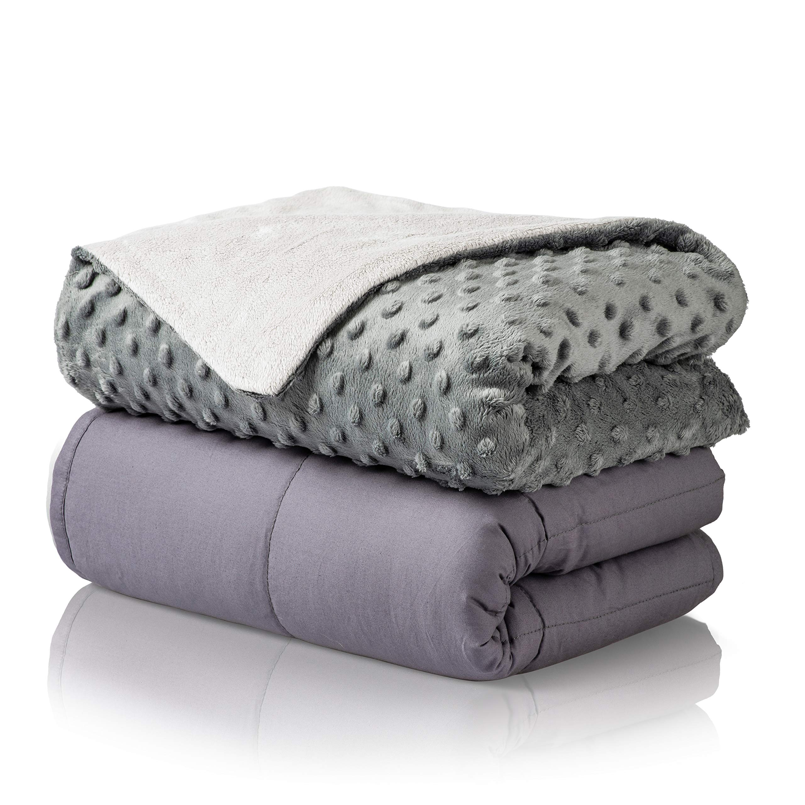 Premium Cotton 15lbs Adult Weighted Blanket Set with Removable Minky Cover   48''x72'' Twin Size   Breathable & Washable