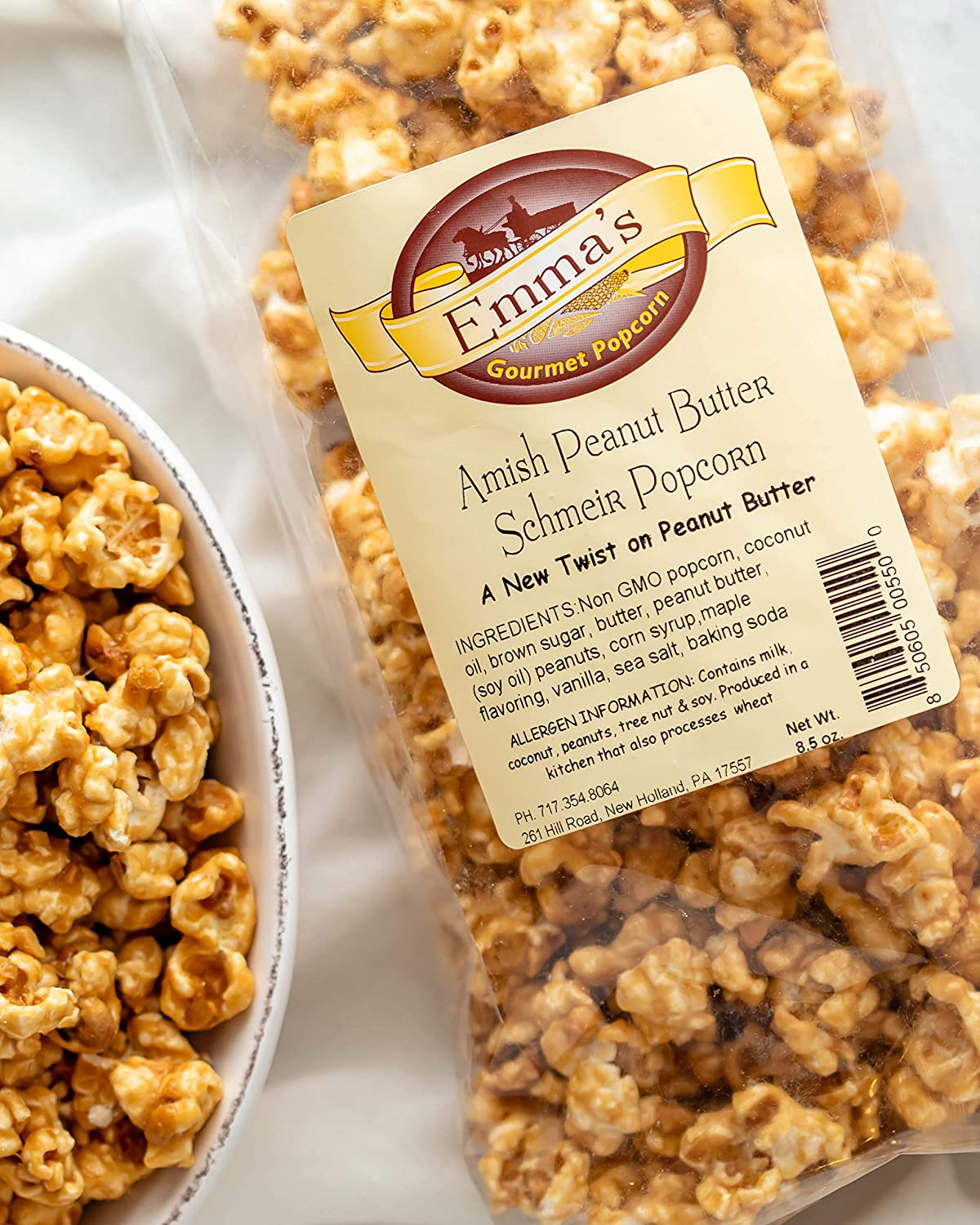 Emma's Gourmet Amish Peanut Butter Schmeir Popcorn   Melt in your Mouth Caramel with a Peanut Butter Flavor   Made with Real Butter and Coconut Oil   Great for Party Snack (8.5 oz Bag)