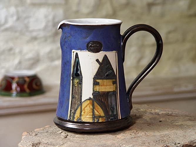 Amazon Blue Ceramic Water Pitcher Handmade And Hand Painted
