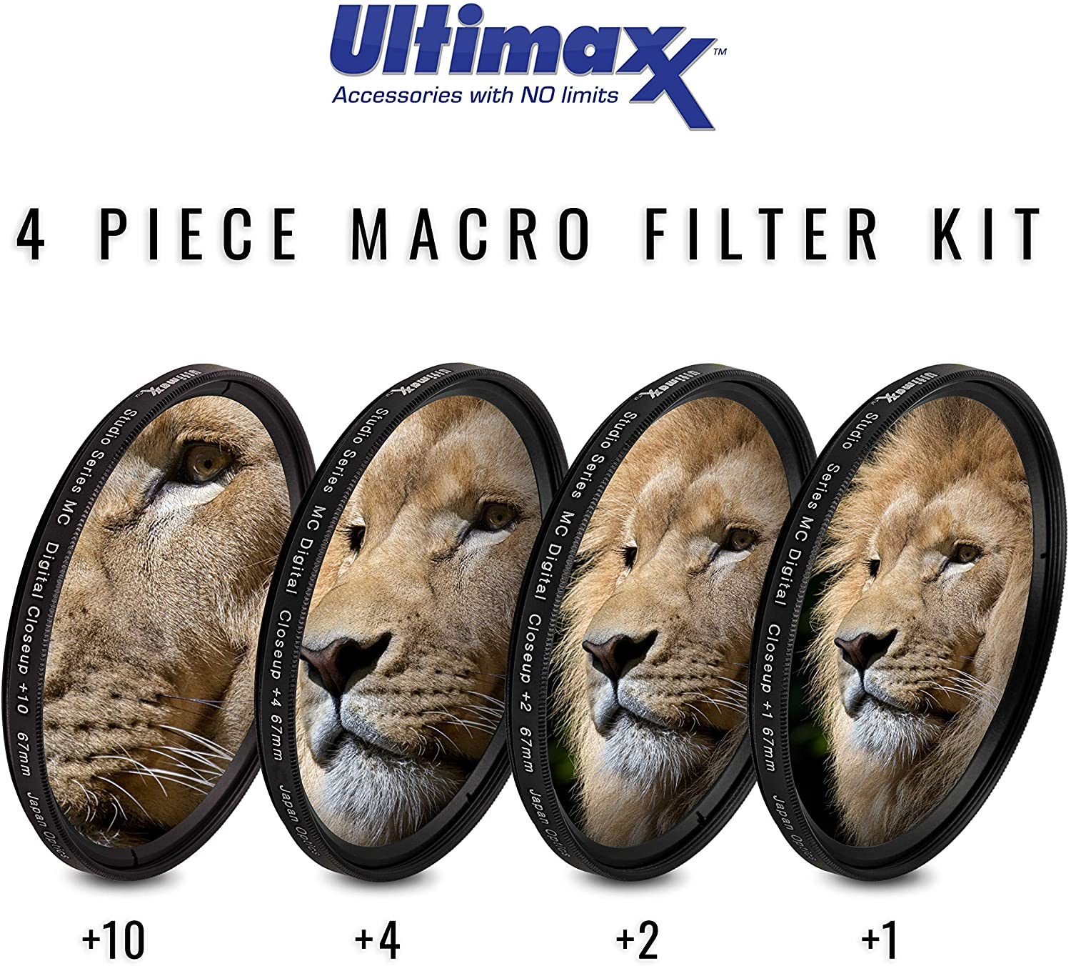 82MM Ultimaxx Professional Four Piece HD Macro Close-up Filter Kit for Camera Lens with 82MM Filter Thread and Protective Filter Pouch 1, 2, 4, 10 Diopter Filters