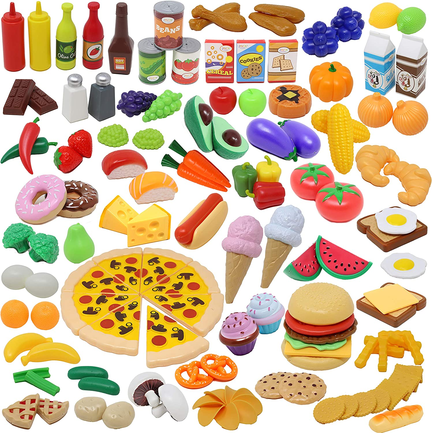 JOYIN Play Food Set 135 Pieces Play Kitchen Set for Market Educational Pretend Play, Food Playset, Kids Toddlers Toys, Kitchen Accessories Fake Food, Party Favor Christmas Stocking Stuffers