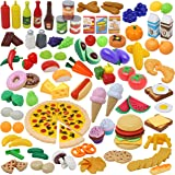 135pcs Corte de Frutas y Alimentos Verduras Pizza Juego de Plástico para Niños 3 Años, Accesorios de Cocina Set de…